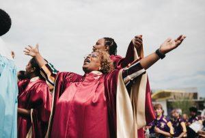 woman singing in choir
